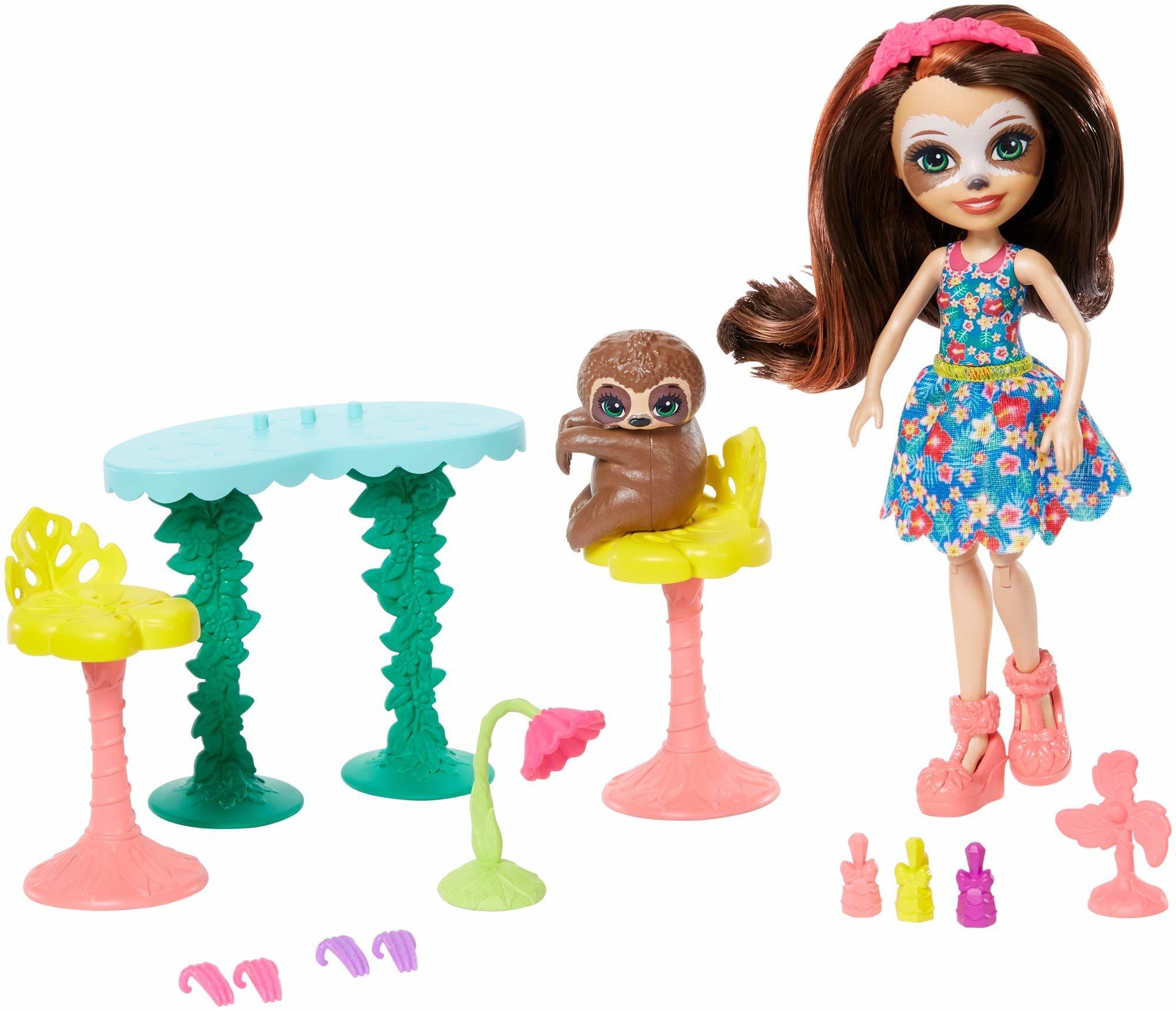 Enchantimals GFN54  zestaw tematyczny Sela Sloth i Treebody mały odpoczynek studio paznokci lalki zestaw zabawek, zabawka dla dzieci od 4 lat