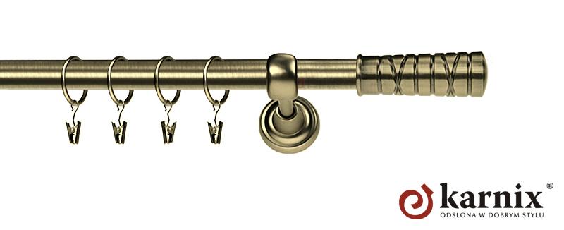 Karnisz Metalowy Rzymski pojedynczy 16mm Torino antyk mosiądz