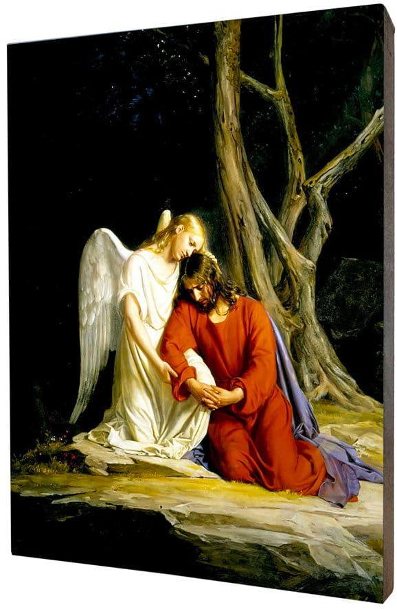 Obraz religijny na desce lipowej, Jezus w Getsemani