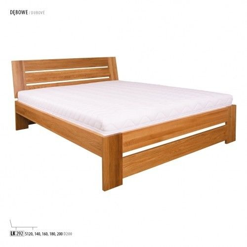 Łóżko LK292 Drewmax dębowe, Rozmiar: 160 x 200 cm, Kolor: Dąb bielony