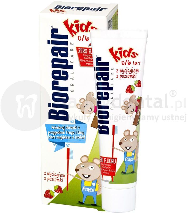 BIOREPAIR Kids pasta do zębów bez fluoru dla dzieci do 6 roku życia - 50 ml