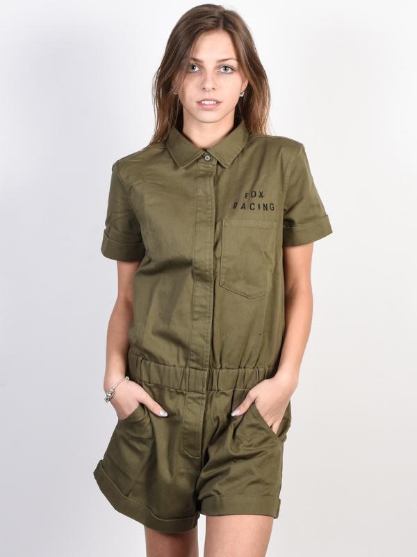 Fox Wrenching Romper FATIGUE GREEN krótkie sukienki - XS