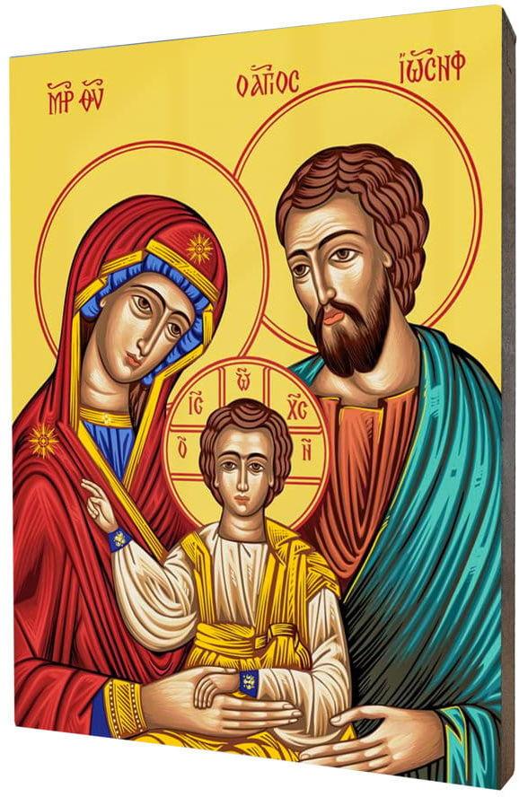 Obraz religijny na desce lipowej, Święta Rodzina
