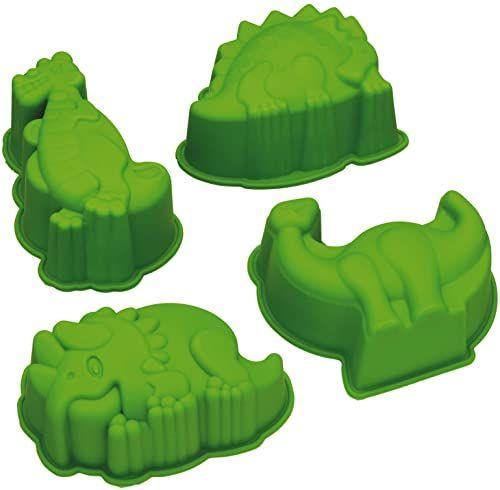 KitchenCraft Let''s Make dinozaur zestaw foremek do ciast / galaretki, silikon, zielony, 4 sztuki