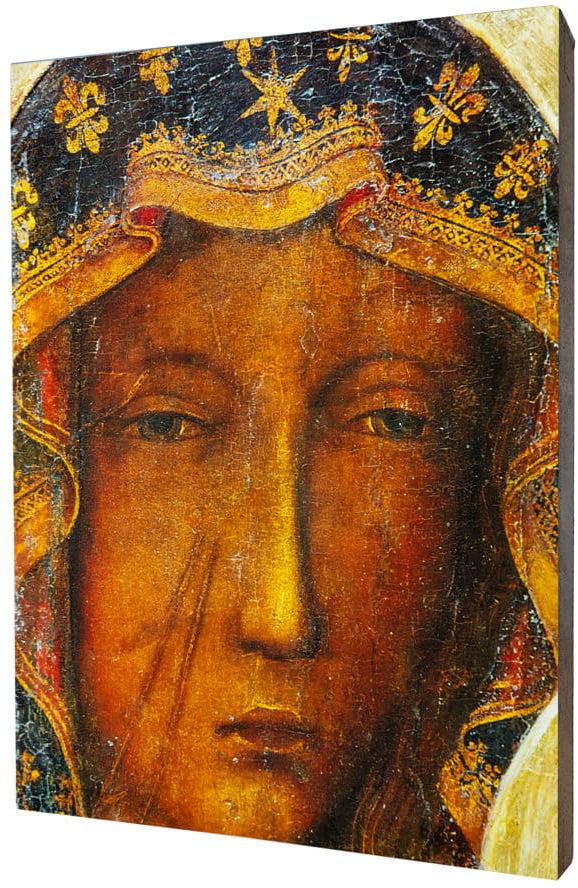 Obraz religijny na desce lipowej, Matka Boska Częstochowska