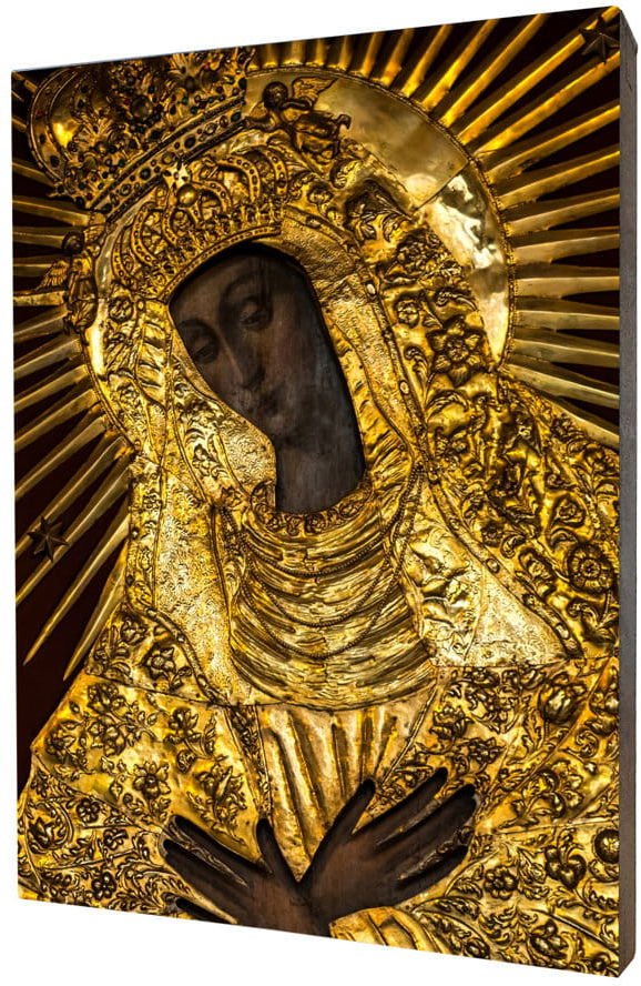 Obraz religijny na desce lipowej, Matka Boska Ostrobramska