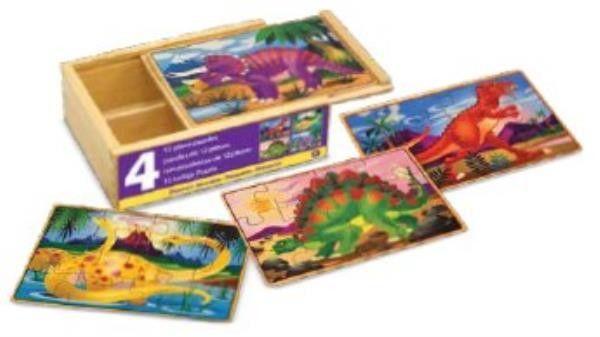 Drewniane puzzle zestaw 4 obrazków Dinozaury