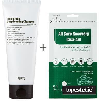 Purito From Green Deep Foaming Cleanser + All Care Recovery Cica - Aid ZESTAW Dogłębnie oczyszczająca pianka myjąca 150 ml + Plastry do stosowania punktowo na stany zapalne i do pielęgnacji blizn 51 s