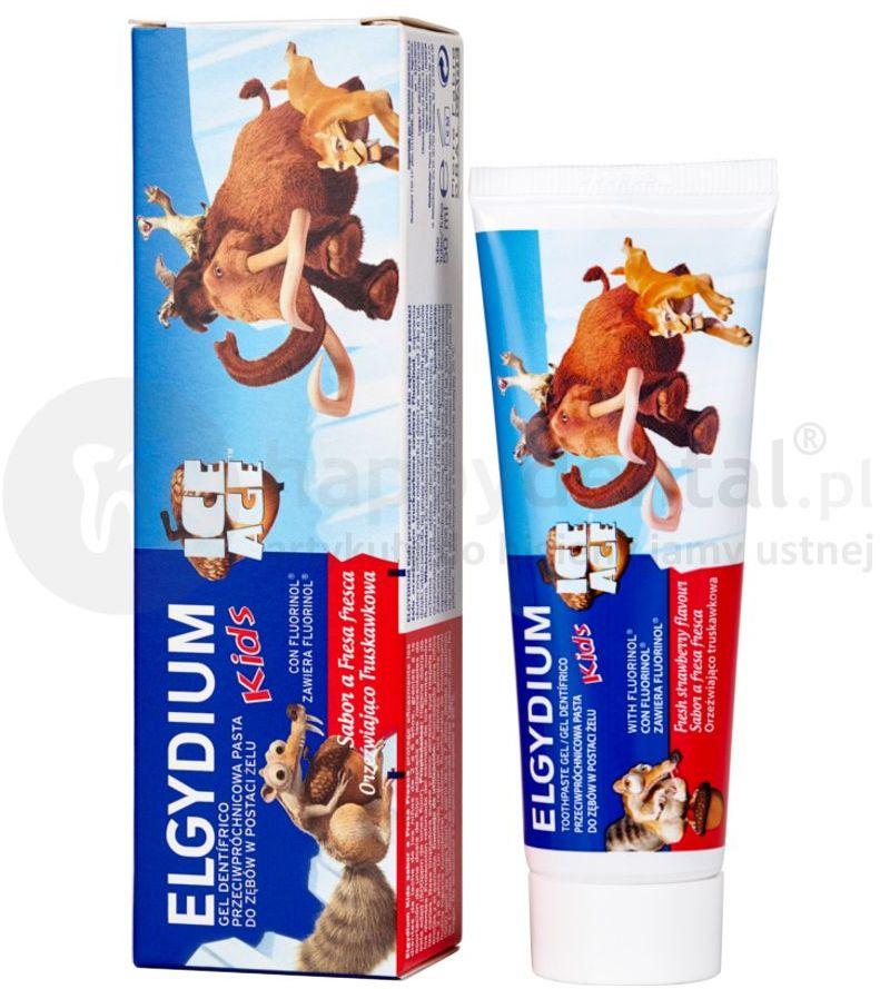 ELGYDIUM Kids ICE AGE pasta do zębów mlecznych o smaku orzeźwiającej truskawki 50ml
