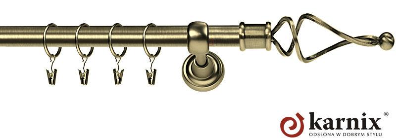 Karnisz Metalowy Rzymski pojedynczy 16mm Twist antyk mosiądz