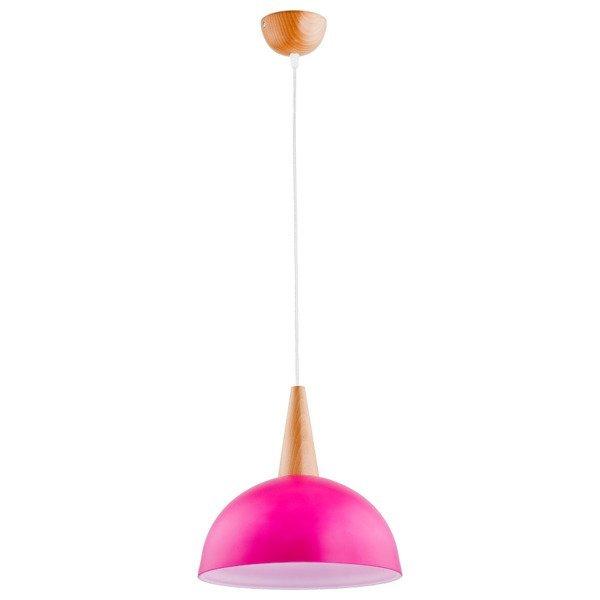 Lampa wisząca zwis ANJA drewno/różowy śr. 30cm