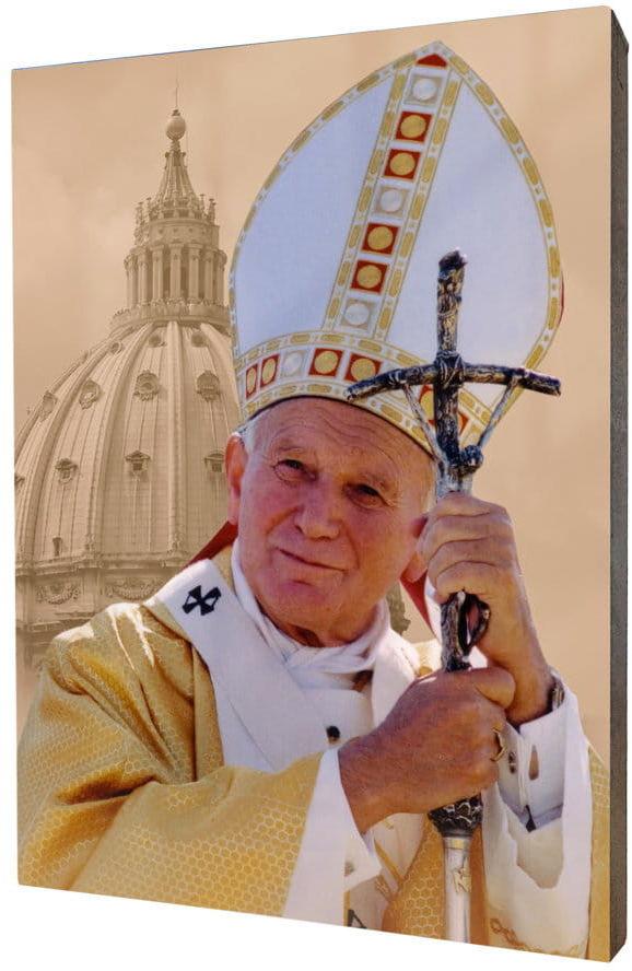 Obraz religijny na desce lipowej, Jan Paweł II