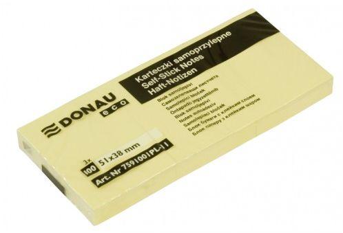 Karteczki samoprzylepne DONAU Eco 38x51 (3szt) żółty 7591001PL-11