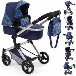 Bayer Design 18403AA Kombi wózek dla lalek Neo Vario z torbą do przewijania i koszem na zakupy, możliwość przekształcenia w samochód sportowy, z regulacją wysokości, nowoczesny, niebieski, klasyczny