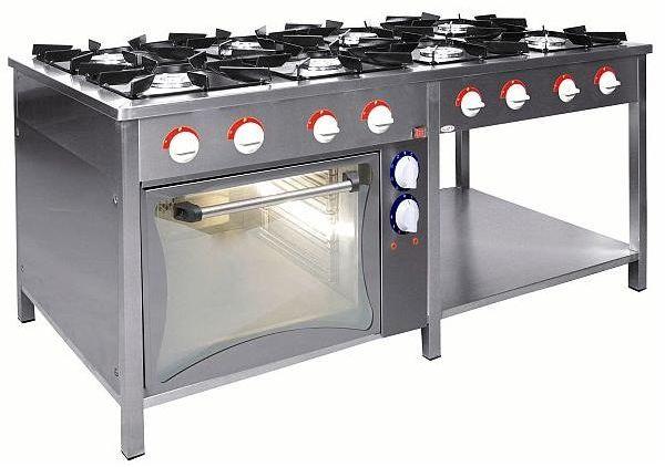 Kuchnia gazowa 8-palnikowa z piekarnikiem el. EGAZ TG-840/PKE-1