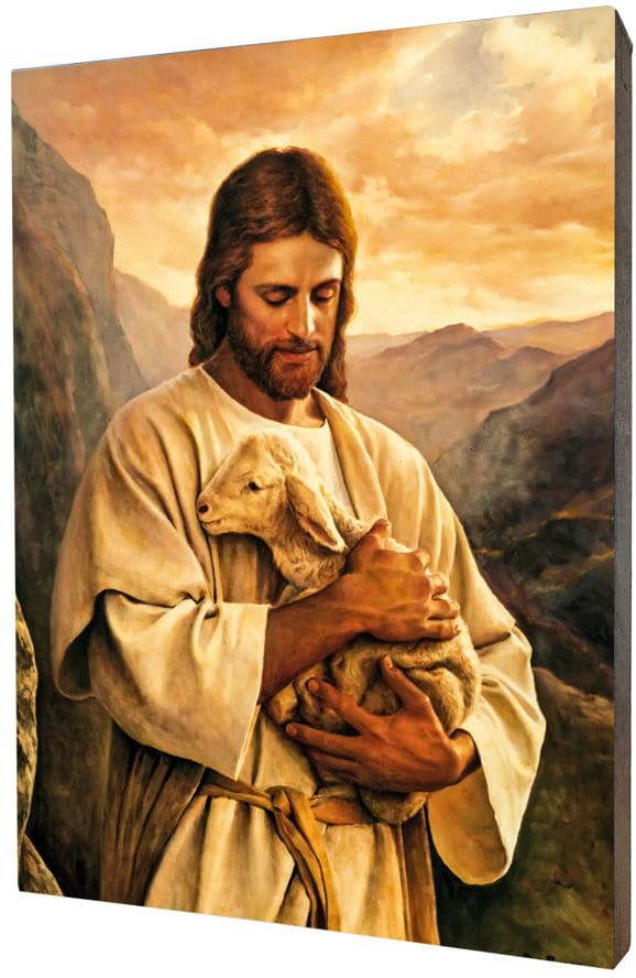 Obraz religijny na desce lipowej, Jezus Dobry Pasterz