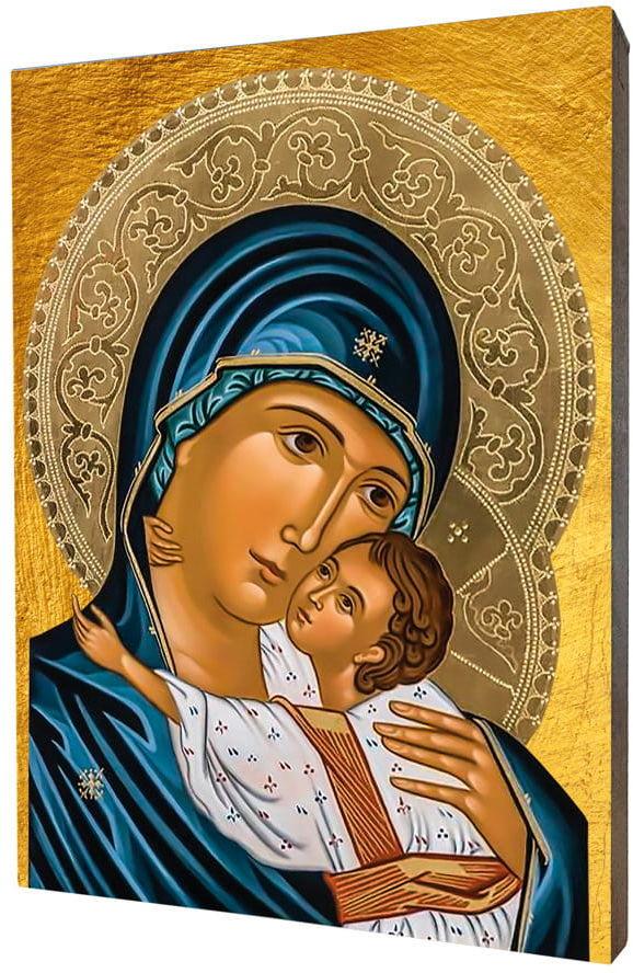Obraz religijny na desce lipowej, Matka Boża