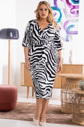 Sukienka ekskluzywna ołówkowa z paskiem SAMANTA zebra biało czarna