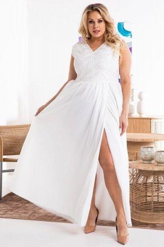 Sukienka do ślubu tiul z koronkową górą i rozporkiem ATLANTA ecru