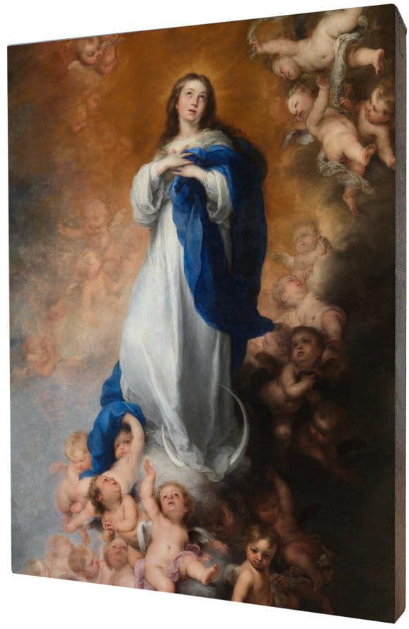 Obraz religijny na desce lipowej, Matka Boża Niepokalana