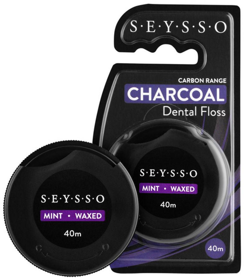 SEYSSO Carbon Charcoal czarna nić dentystyczna z aktywnym węglem - 40m