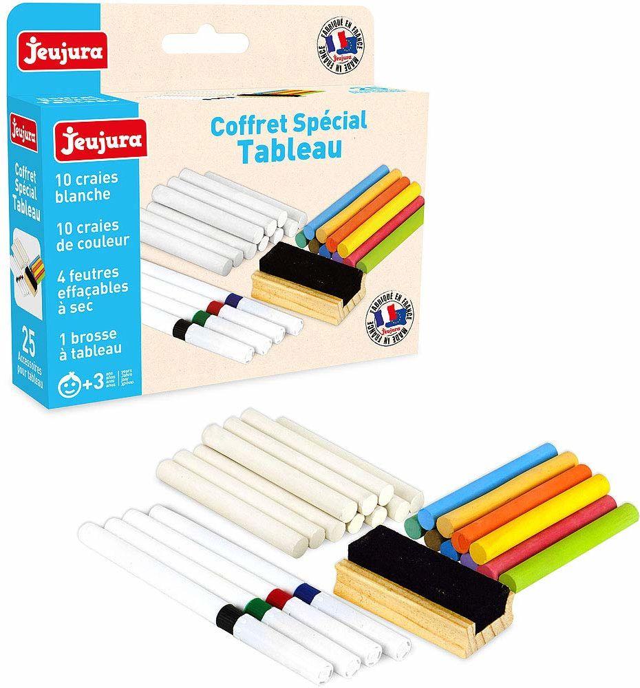 Jeujura J8978 Akcesoria do czarnych sztalug: Kredy, ołówki i gumka do tablic, wielokolorowe