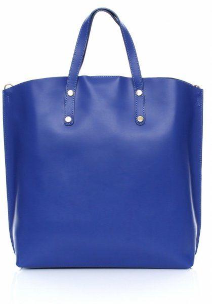 Torebka Skórzana Shopperbag z Kosmetyczką Niebieska
