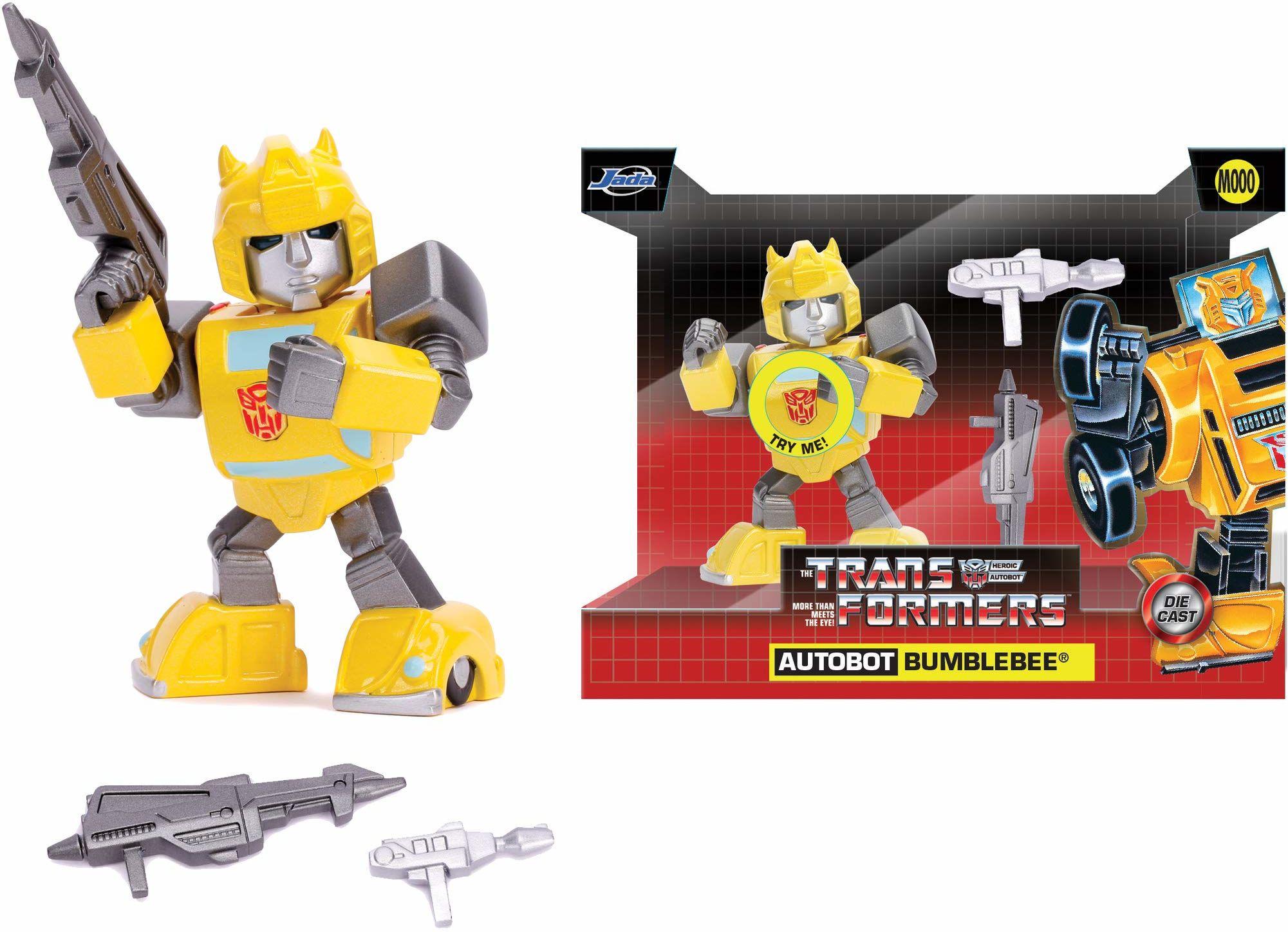 Jada Toys 253111004 Transformers, Bumblebee G1 figurka z Die-cast, oczy ze światłem, wraz z bateriami, akcesoriami, 10 cm, żółty