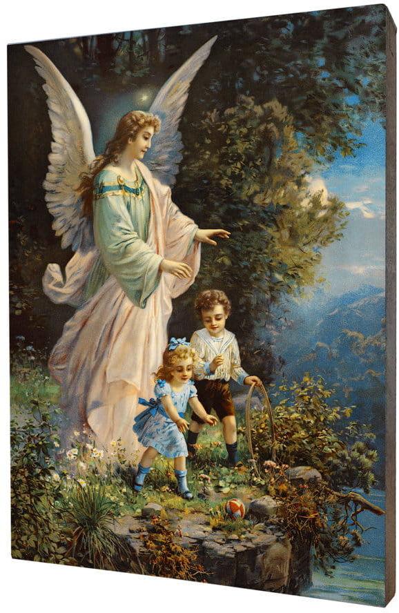 Obraz religijny na desce lipowej, Anioł Stróż z dziećmi