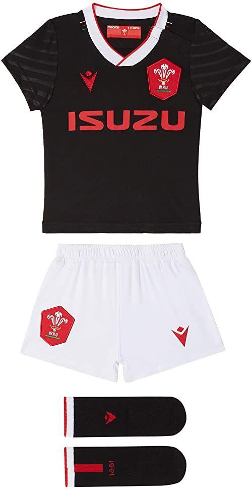 Macron Unisex Baby 58125564 Wru M20 WRU M20 koszulka z szortami i skarpetkami, alternatywny zestaw bokserski, dla dzieci, czarny, 6/9M czarny czarny 6-9 Miesi?ce
