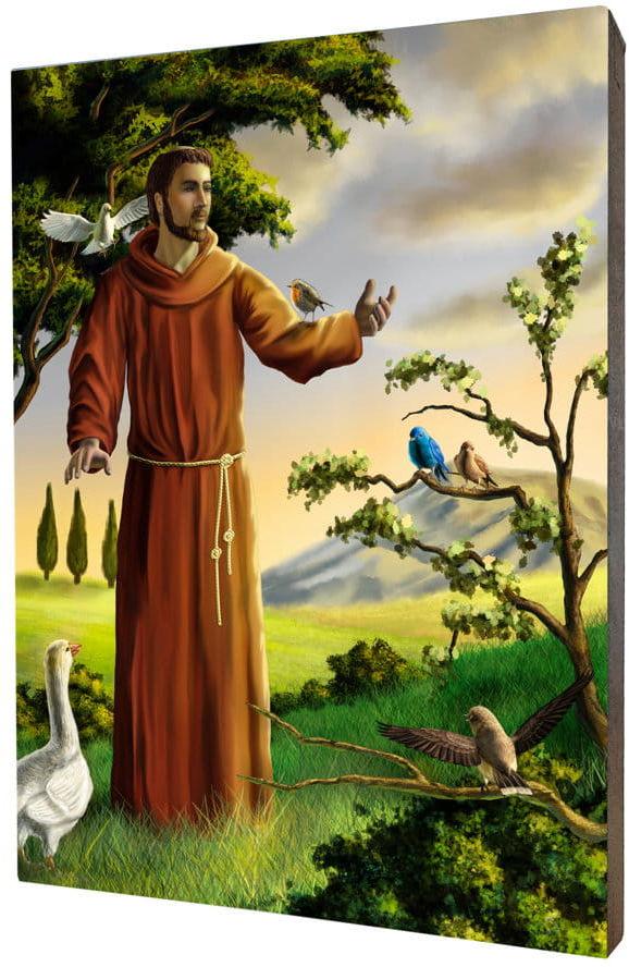 Obraz religijny na desce lipowej, święty Franciszek