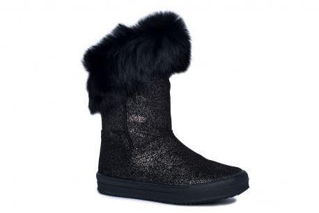 Bartek 44399W/47399 BIE kozaczki ocieplane czarny- brokat , dla dziewcząt z modnym futerkiem