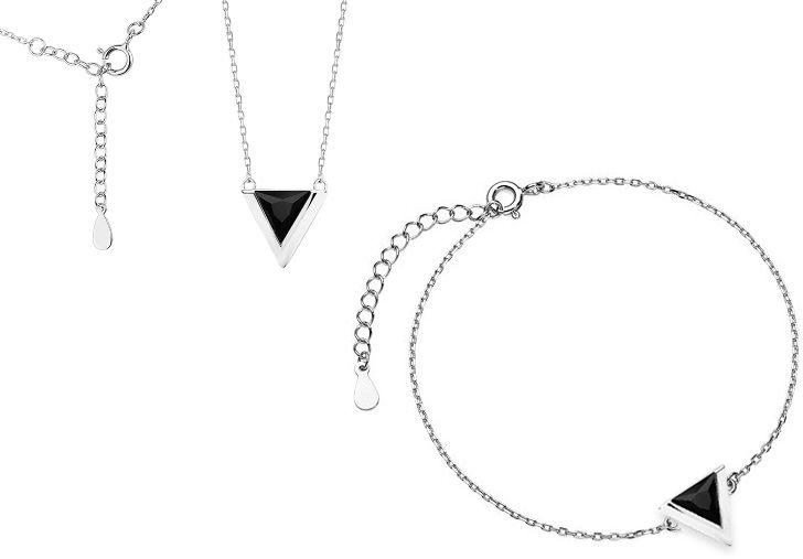 Delikatny rodowany srebrny komplet celebrytka trójkąt triangle czarne cyrkonie srebro 925 Z1684Z