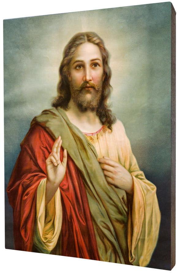 Obraz religijny na desce lipowej, Jezus