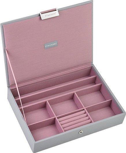 Szkatułka na biżuterię stackers classic szaro-różowa z pokrywką