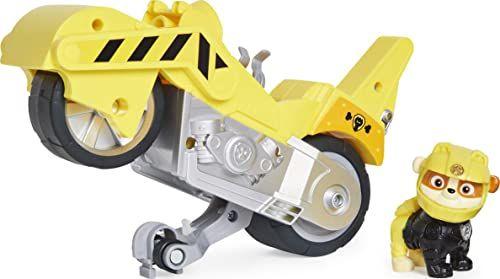 PAW Patrol 6060543 Moto Pups Rubble''s Deluxe Pull Back Back Motocykl z funkcją Wheelie i figurką