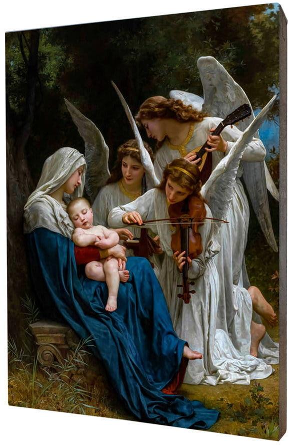 Obraz religijny na desce lipowej, śpiew Aniołów