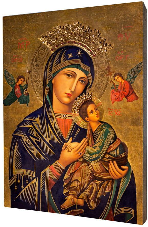 Obraz religijny na desce lipowej, Matka Boża Nieustającej Pomocy