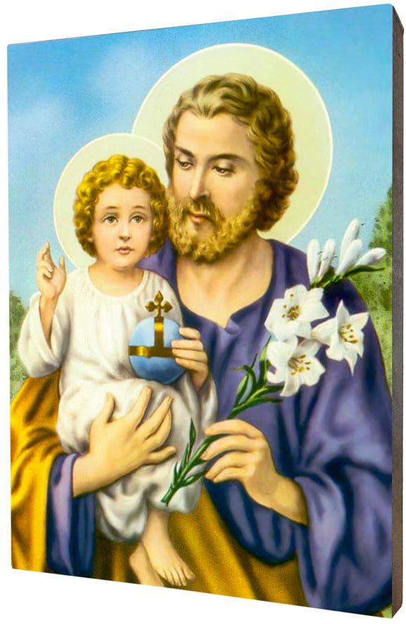 Obraz religijny na desce lipowej, święty Józef