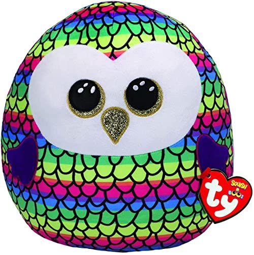 Ty UK Ltd 39191 Owen Owl Squish A Boo pluszowa zabawka, wielokolorowa, 30 cm