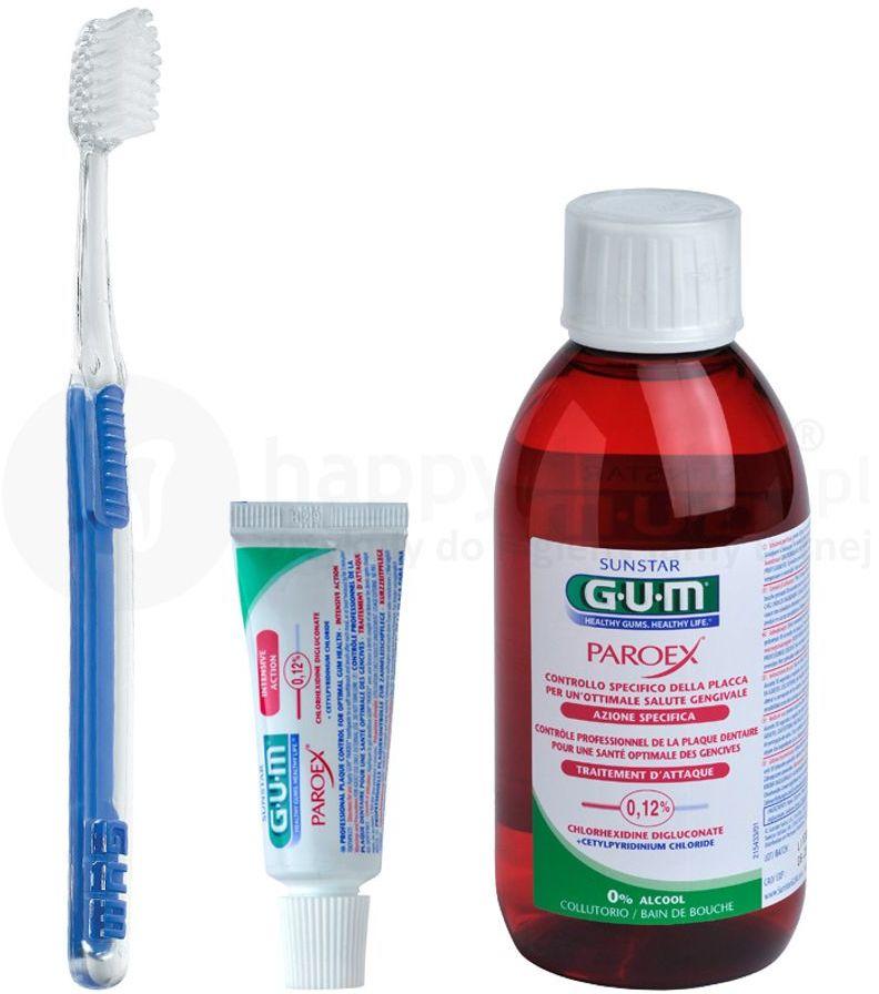GUM PAROEX zestaw pozabiegowy - płyn PAROEX, szczoteczka pooperacyjna, mini pasta do zębów