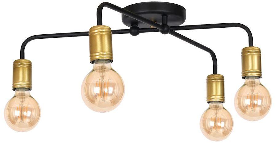 Milagro DYLAN MLP4806 plafon lampa sufitowa metal industrialna czerń ze złotem miedziany odcień żarówki 4xE27 55cm