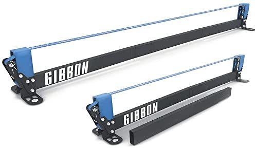 Gibbon Slacklines Slackrack Fitness Edition, szary/niebieski, długość montażowa: 2 lub 3 metry, z 2 uchwytami, taśma elastyczna i plakat z ćwiczeniami, wysokość: 30 cm, szerokość: 2 cale 5 cm