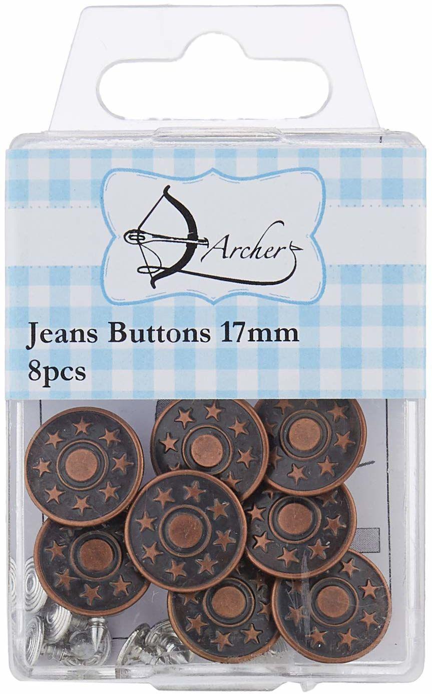ARCHER 17 mm guziki do dżinsów 8 szt, metal, brąz, 10 x 6 x 2 cm