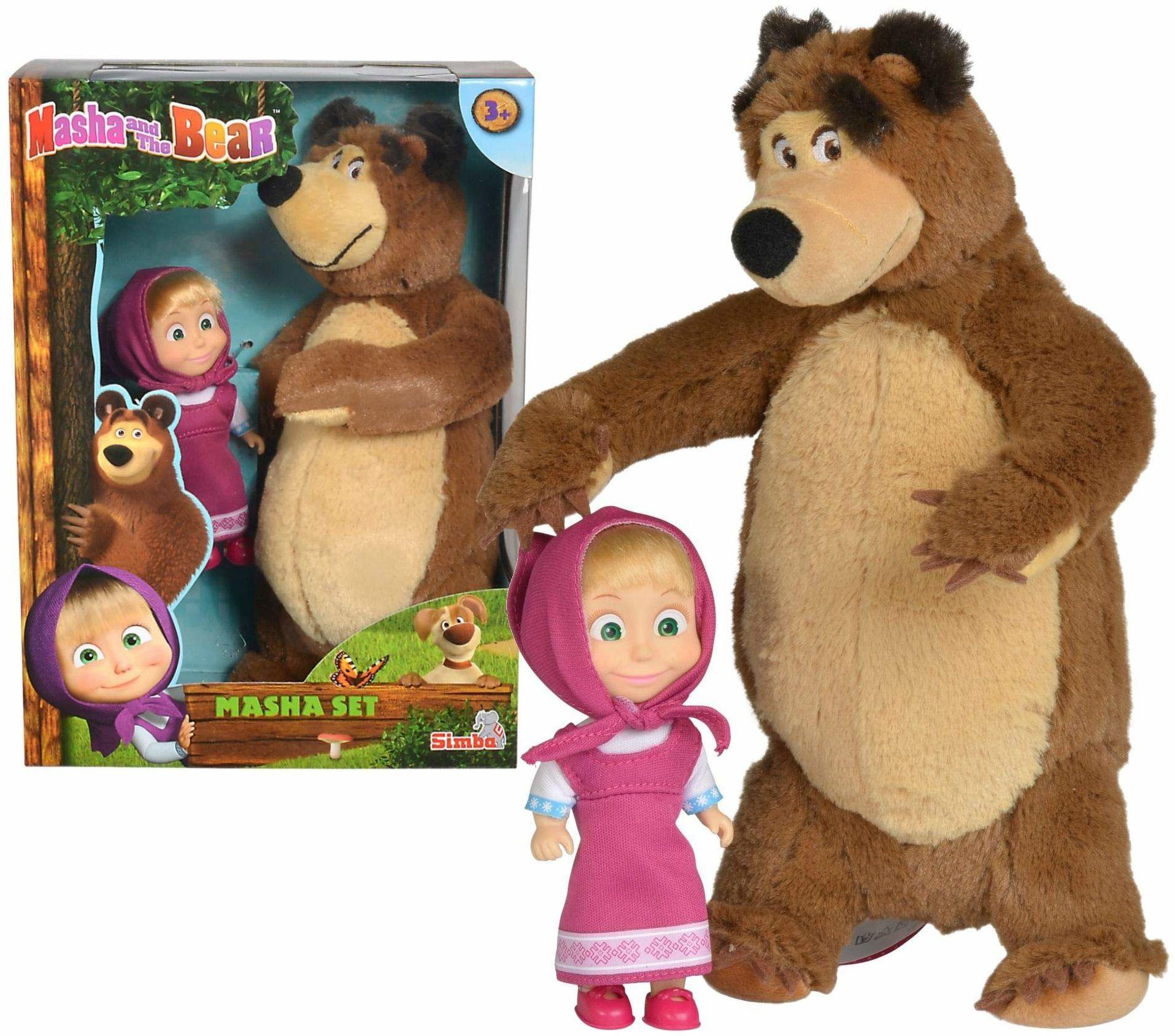 Simba 109301072 Masza I Niedźwiedź Zestaw Miś+Lalka Mały 109301072 ,Nylon/a