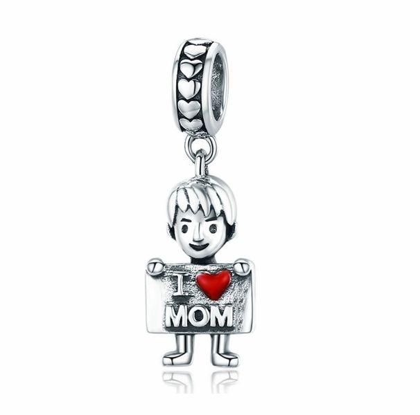 Rodowany srebrny wiszący charms do pandora miłość do mamy I love mom srebro 925 NEW223