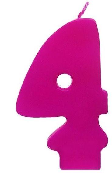 Świeczka urodzinowa cyferka 4 różowa SCW4-006