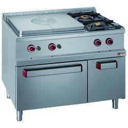 Kuchnia gazowa 2 palnikowa z płytą grzewczą i piekarnikiem gaz. GN 2/1 szafka GN 1/1
