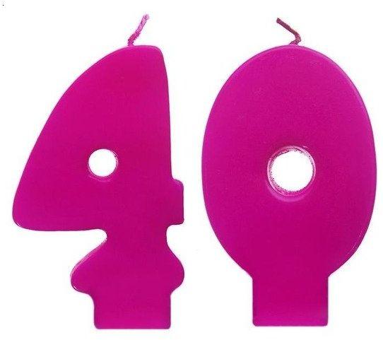 Świeczki urodzinowe 40 różowe SCW40-006