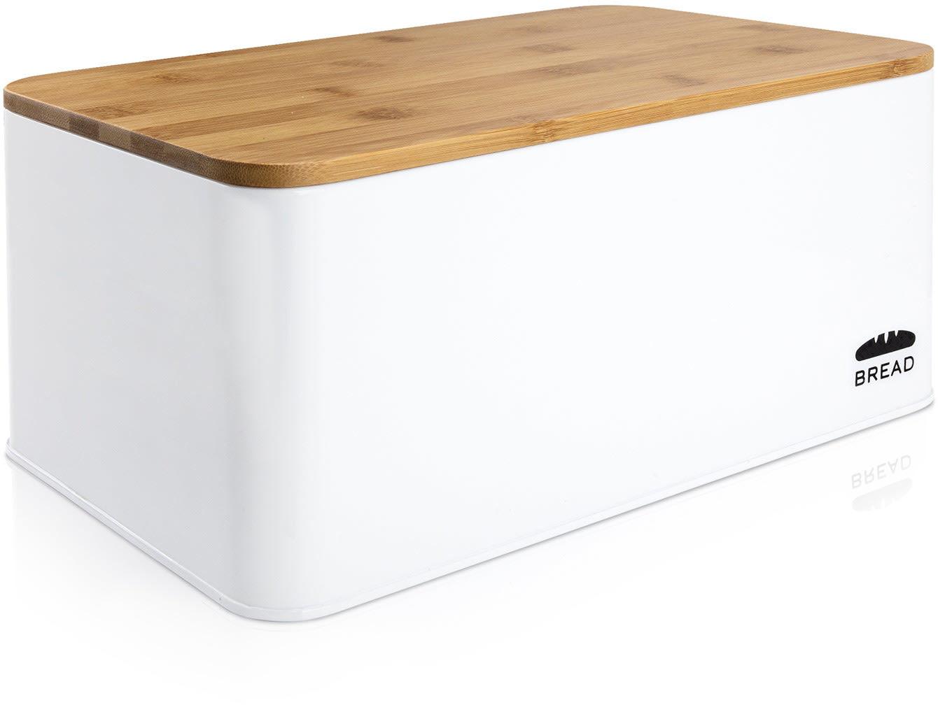 Klarstein Oklahoma, pojemnik na chleb, metal, 35,5 x 15,5 x 23 cm, bambusowa pokrywka, deska do krojeniaa